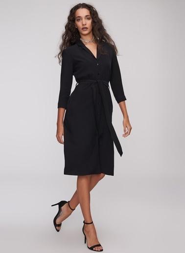People By Fabrika Gömlek Elbise Siyah